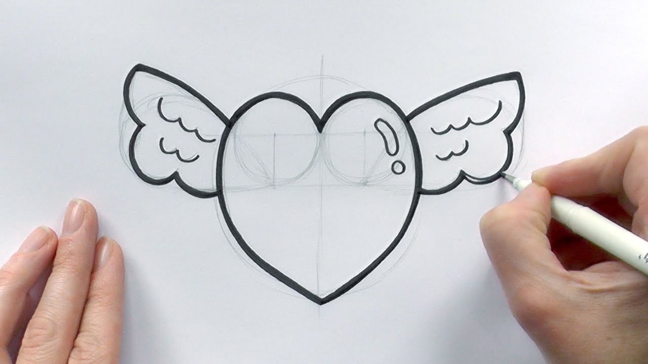 How To Draw A Cartoon Love Heart With Wings For Valentine S Day