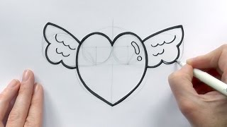 How to Draw a Cartoon Love Heart With Wings For Valentine