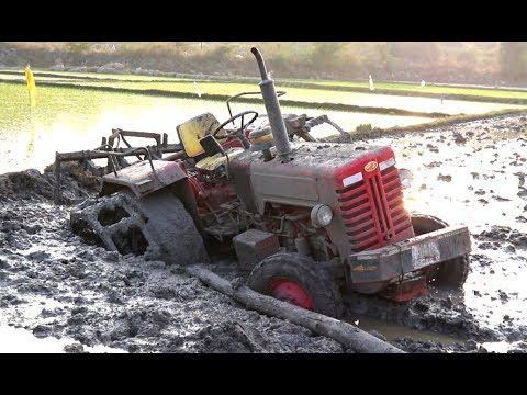 Mahindra Tractor Stuck In Deep Mud