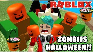 Zombies on Halloween Sweet or Trick Zombie Attack ? Roblox Karim Games