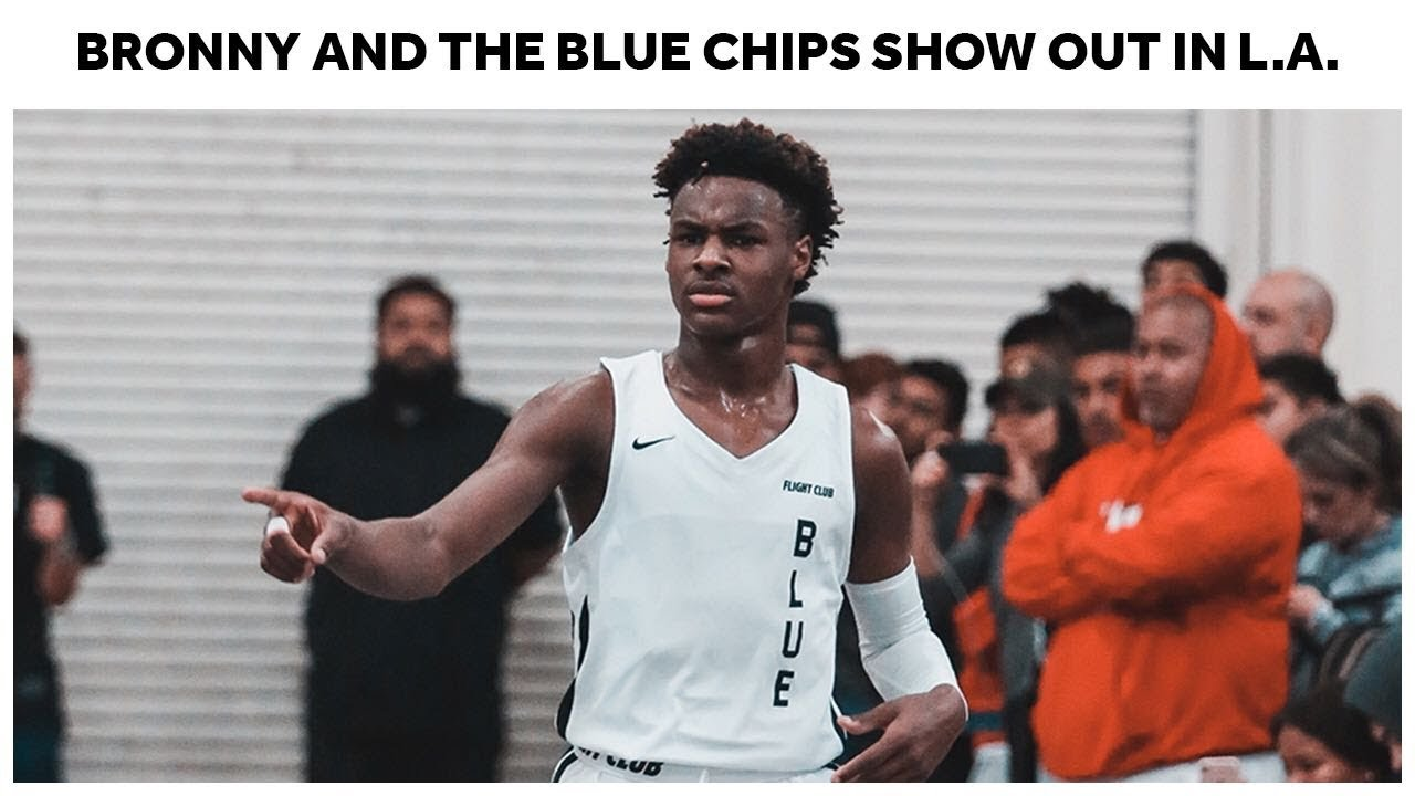 buy online f1673 db4a4 Bronny James and The Blue Chips Show Out in LA