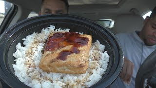 Eating Teriyaki Madness Salmon Bowl @hodgetwins