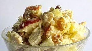 Салат с Курицей и Яблоком кулинарный видео рецепт