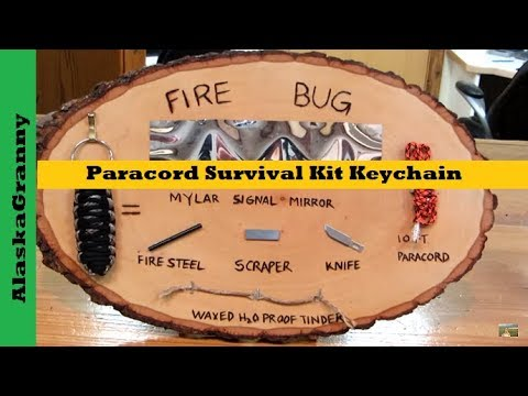 Paracord Survival Kit Key Chain Fire Bug