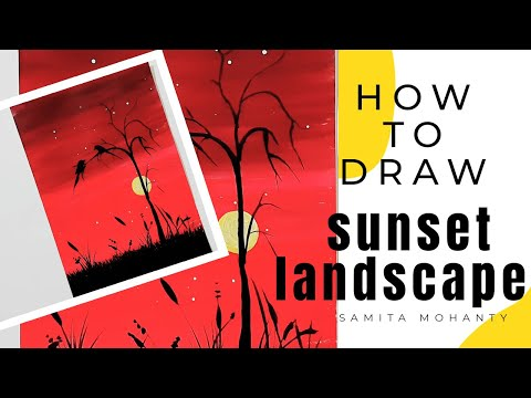 Sunset, Acrylic painting for beginners/ How to paint a simple landscape