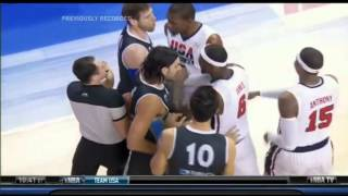 Fight Breaks Out In USA vs Argentina Olympic Exhibition Game Luis Scola Vs Kevin Durant
