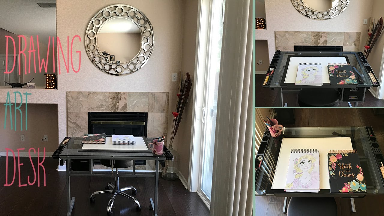 Unboxing My Adjule Drafting Drawing Craft Table Art Glass Desk W Storage Drawers