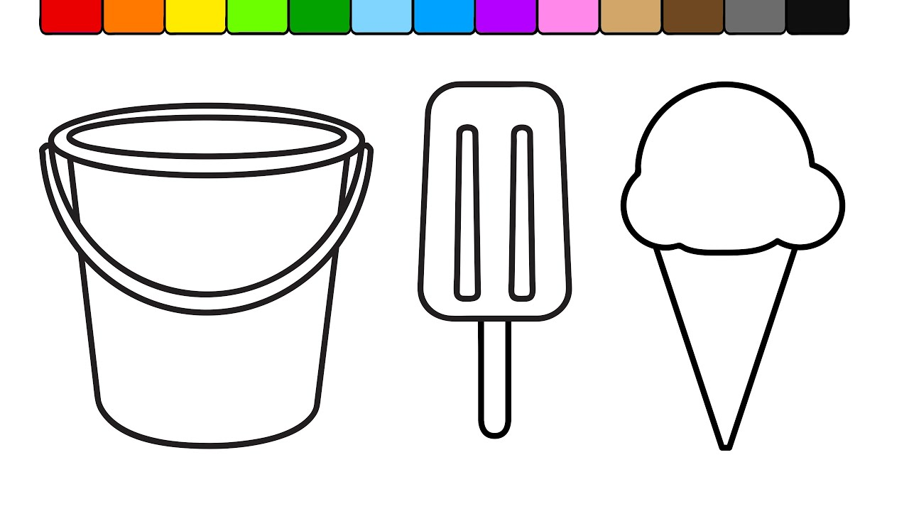 learn colors for kids with this ice cream popsicle coloring page