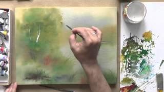 Пишем акрилом по ткани. Утро над рекой.(Сайт проекта: www.sovetmasterov.ru Это видео показывает процесс рисования на ткани акриловыми красками., 2015-10-20T06:20:07.000Z)