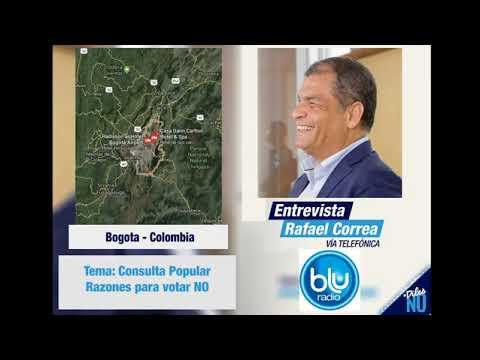 Rafael Correa con Blu Radio en Bogota - Colombia