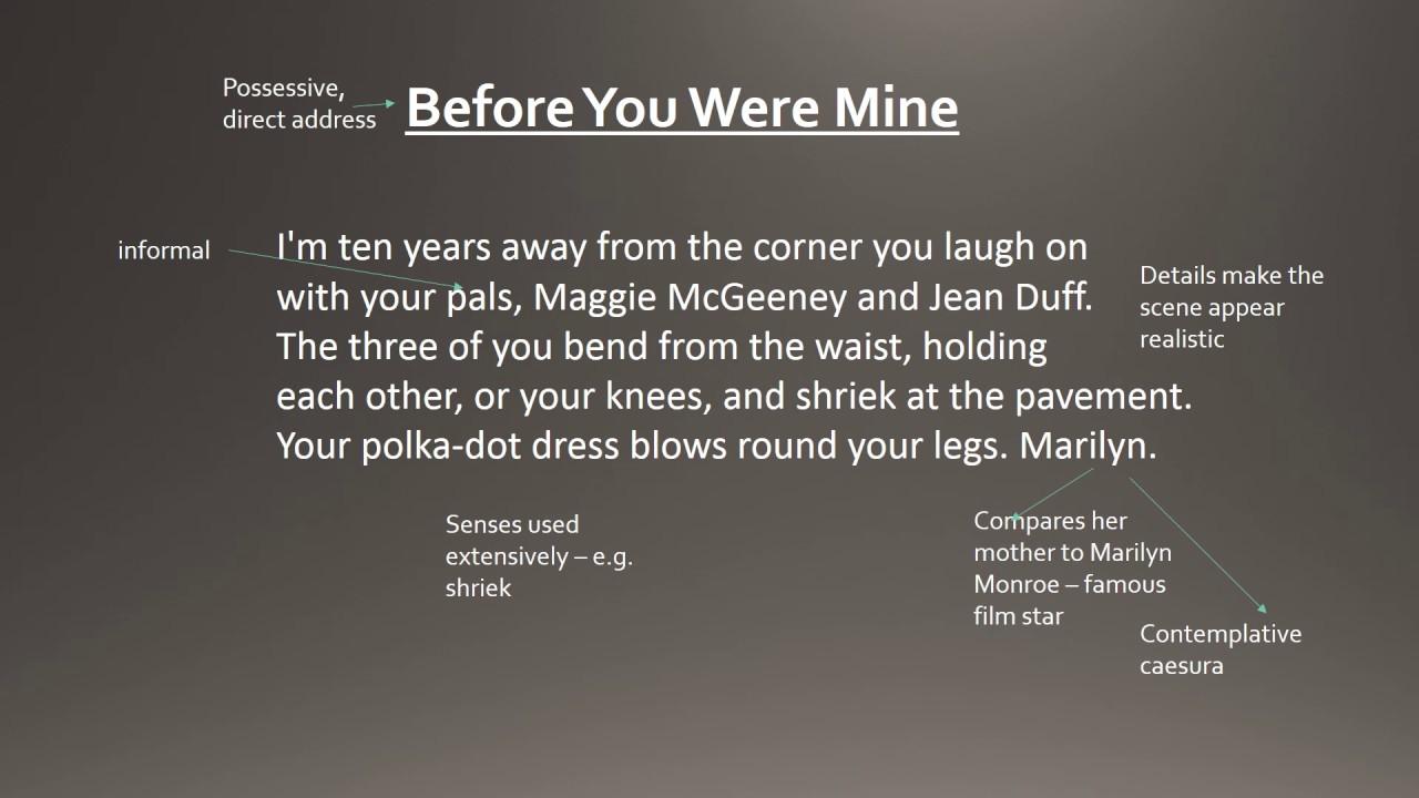 Before You Were Mine By Carol Ann Duffy Gcse Analysis