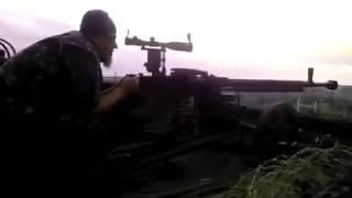 Снайпер ВСУ стреляет с ДШК по Ополчению 07  06  15
