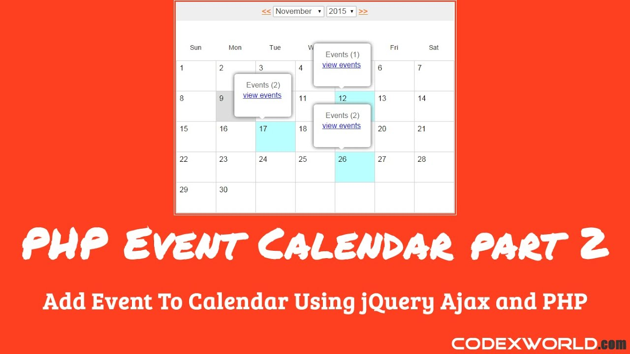 Add Event to Calendar using jQuery, Ajax and PHP - CodexWorld