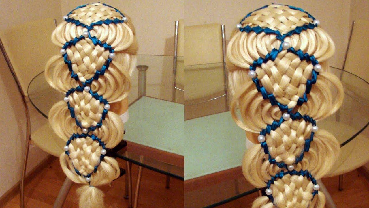 Сдвоенная голливудская волна Коса с лентами Причёска для девочки Курс плетения кос Hair tutoria