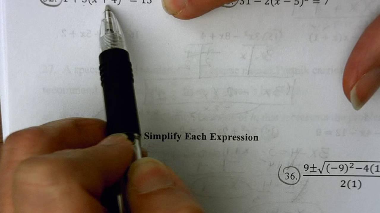Math 3 Unit 2 Worksheet 4 Youtube