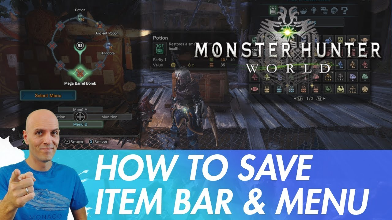 MONSTER HUNTER WORLD PC Item Bar and Radial Menu / how to save it