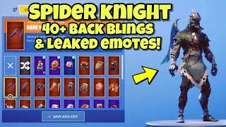 "NEW ""SPIDER KNIGHT"" SKIN Showcased With 40+ BACK BLINGS & LEAKED EMOTES! Fortnite Battle Royale"