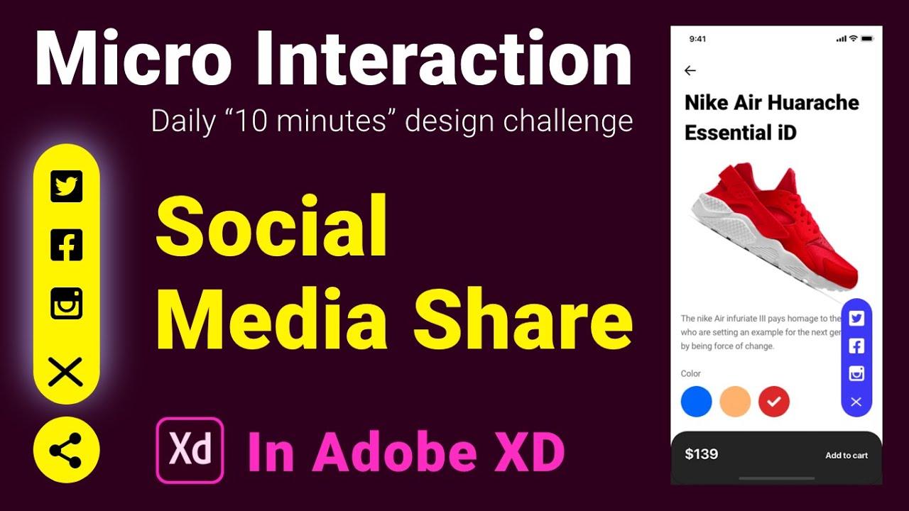 Social Media Share - Micro Interaction in adobe XD
