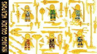 Ninjago Golden Ninjas w/ Gold Weapons Kai Zane Lloyd Jay Cole & Nya Unofficial Lego Minifigures
