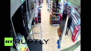 Stealing in style: Man escapes on futuristic device with pack of energy drinks