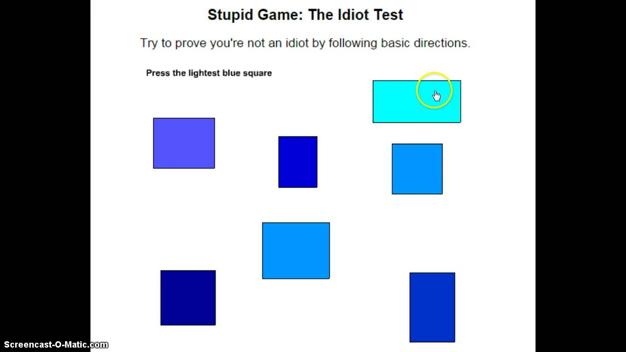 Stupid Game: The Idiot Test! - YouTube