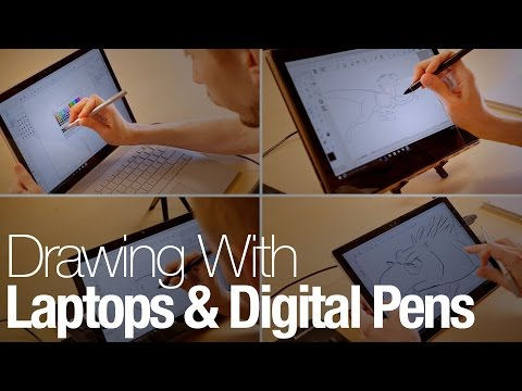A comic book artist draws with a Surface Book, Yoga 900S, Vaio Z Flip, and Surface Pro 4
