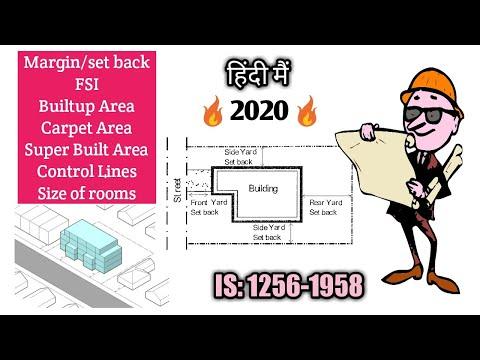 What is builtup area,carpet area,super builtarea,margin,control line,building line? building bye law