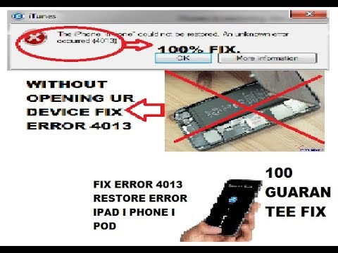 Fix iPhone 5 5S 6 7 and ipad 4013 error on itunes 100% fix simple solution