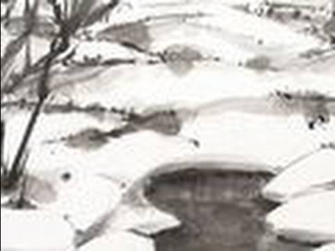 Snow Field Sumie Drawing