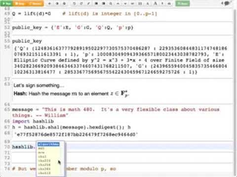 2014 02 14 - Elliptic Curve Digital Signature Algorithm in the SageMathCloud