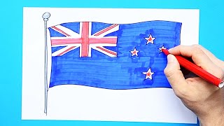 How to draw and color the Flag of New Zealand