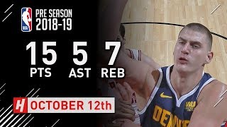 Nikola Jokic Full Highlights Nuggets vs Bulls - 2018.10.12 - 15 Pts, 5 Ast, 7 Rebounds!