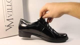 Женские лаковые туфли на низком ходу