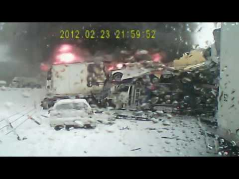 Semi-truck's video records Michigan I-94 crash - YouTube
