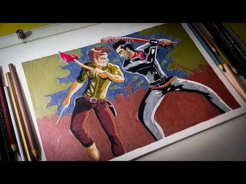 Desenhando Rick & Negan E Colorindo Com Lápis De Cor - Fanart Exclusiva The Walking Dead