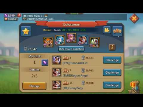 HOW TO GET RANK ONE IN COLOSSEUM LORDS MOBILE  90 PERCENT F2P