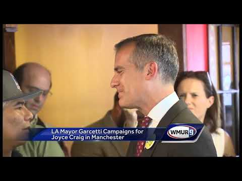 LA Mayor Eric Garcetti campaigns for Joyce Craig in Manchester