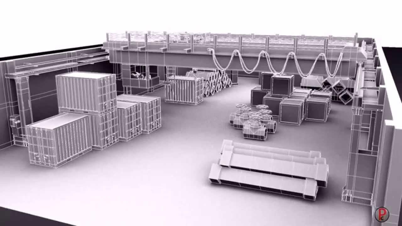 Industrial warehouse 3d set modeling youtube for Kitchen set 3d warehouse