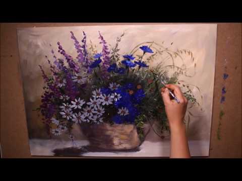 """Katarzyna Lach Obraz """"Polne kwiaty"""" krok po kroku / painting wildflowers vase step by step"""