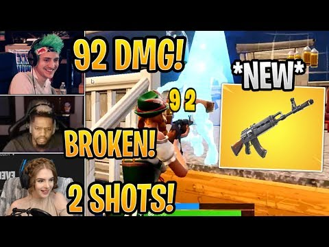 Streamers First Time Using *NEW* Heavy AR (AK-47)! *BROKEN* - Fortnite Best and Funny Moments