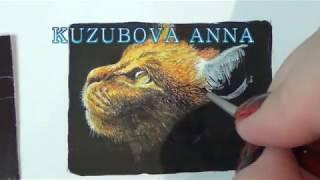 Рисуем рыжую кошку/рисуем кошку акварелью и акриловой краской/ cat in watercolor