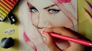 How to draw Lips & Hair (Colored pencils)