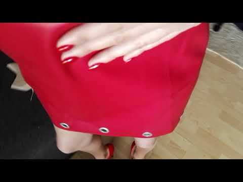 Fetish LadyIVe walks in red high heels & red leather dress