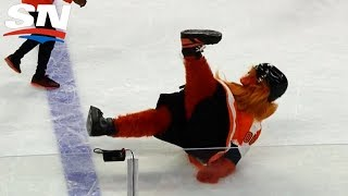 New Flyers Mascot Gritty Falls on The Ice, Keeps Fans Rocking Anyway