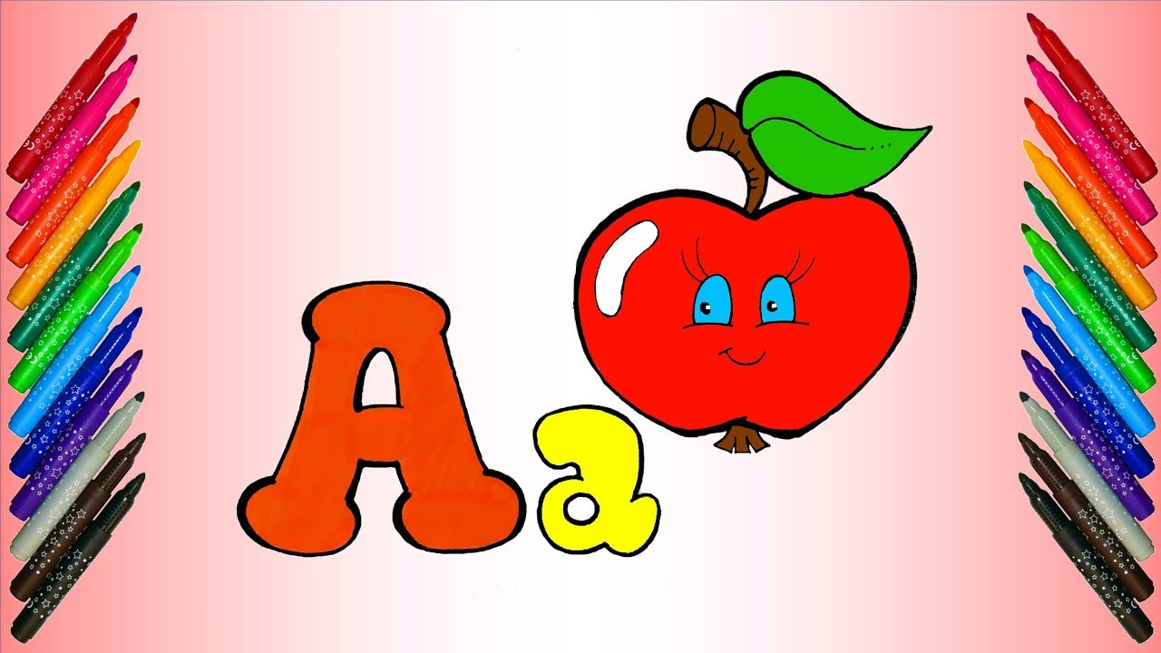 Abc song apple fruit coloring page for kids learn colors for children learn alphabet for toddlers