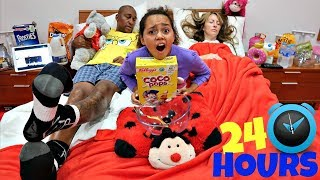 24 HOUR CHALLENGE OVERNIGHT IN TIANA'S BEDROOM!!