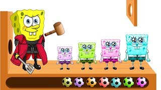 Learn Colors with Spongebob WOODEN F0ACE HAMMER XYLOPHONE SquarePants Soccer Balls for Kids Kiddy TV