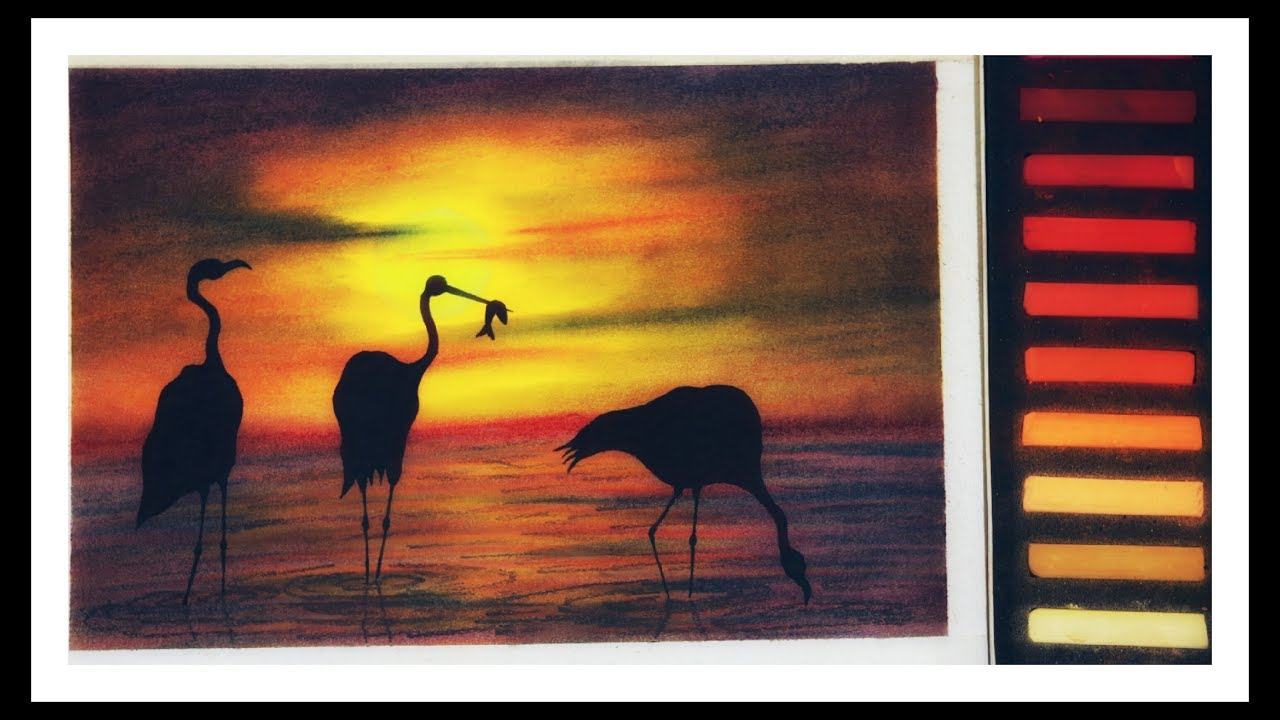 Soft pastel artwork of dramatic swans