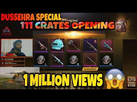 111 CRATES OPENING DUSSEHRA SPECIAL  ll PUBG MOBILE INSANE ITEMS