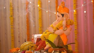 Side close-up of Lord Ganesha's statue kept at home - Ganesh Chaturthi